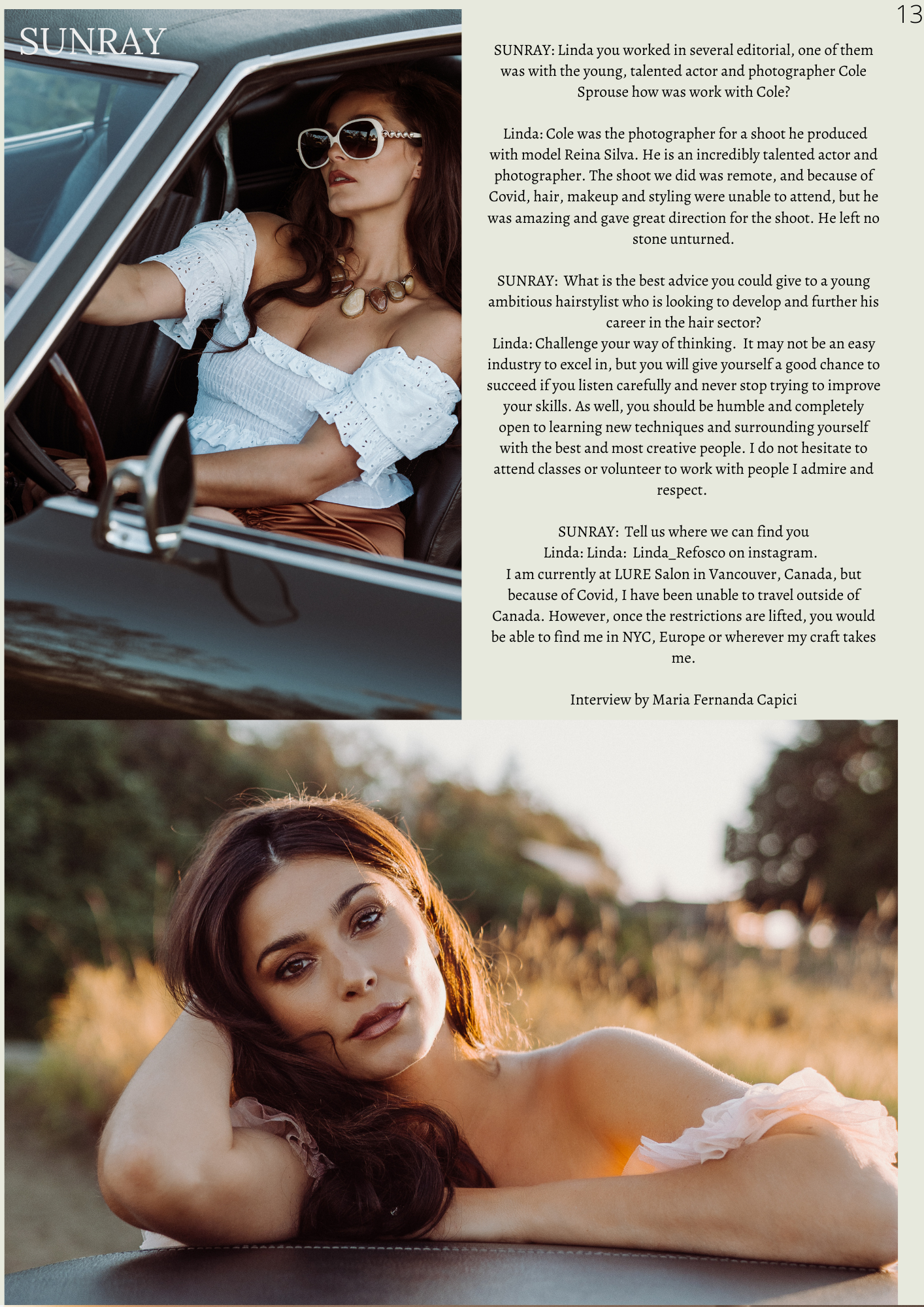 Celebrity Hairstylist Linda Refosco Speaks to Sunray Magazine on what it's like to work with Hollywood's Hottest Celebrities. Image features two models with long brown hair in the countryside, shot by Cole Sprouse